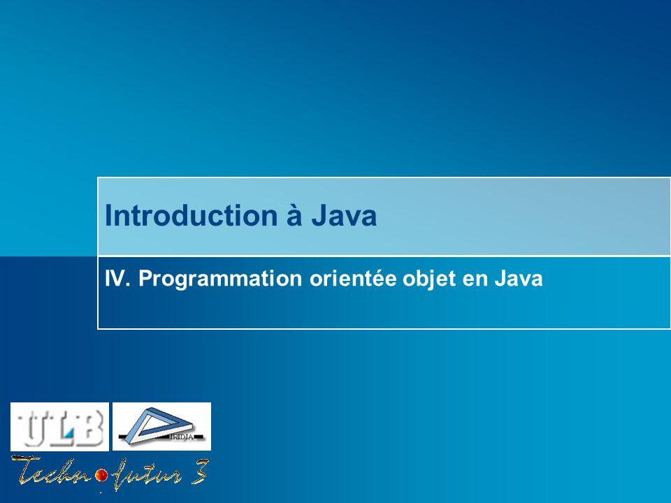 IV. Programmation orientée objet en Java