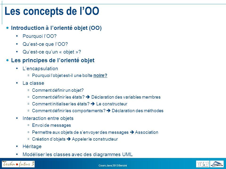 Les concepts de l'OO Introduction à l'orienté objet (OO)