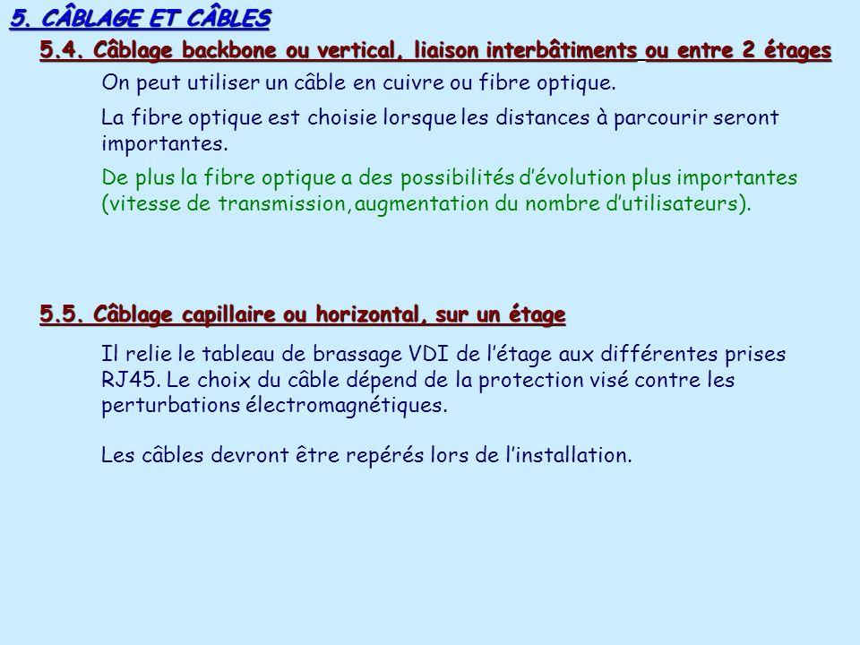 5. CÂBLAGE ET CÂBLES 5.4. Câblage backbone ou vertical, liaison interbâtiments ou entre 2 étages.