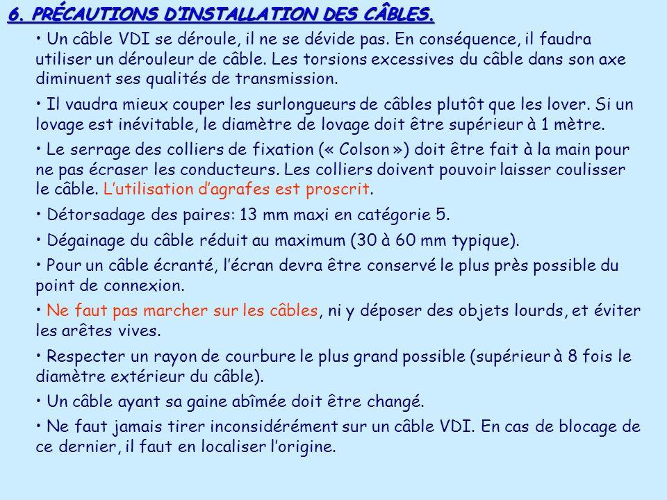 6. PRÉCAUTIONS D'INSTALLATION DES CÂBLES.