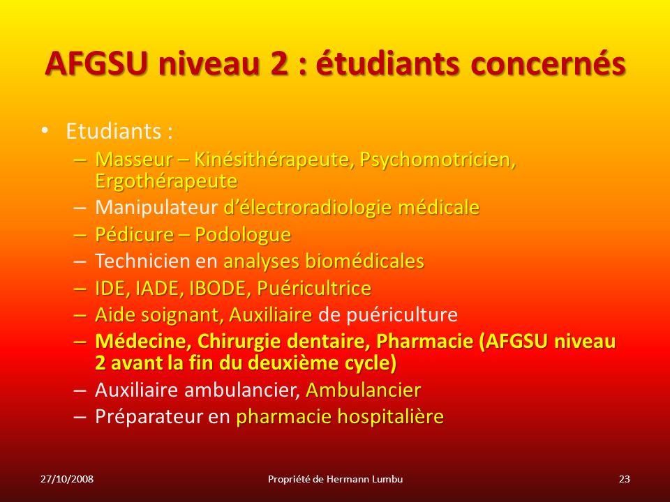 AFGSU niveau 2 : étudiants concernés