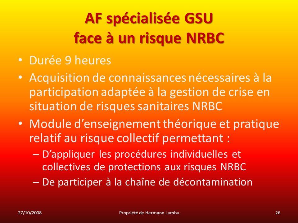 AF spécialisée GSU face à un risque NRBC