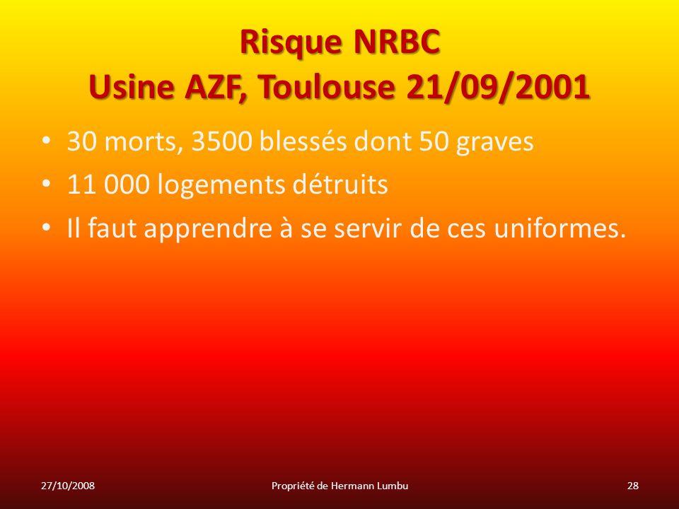 Risque NRBC Usine AZF, Toulouse 21/09/2001
