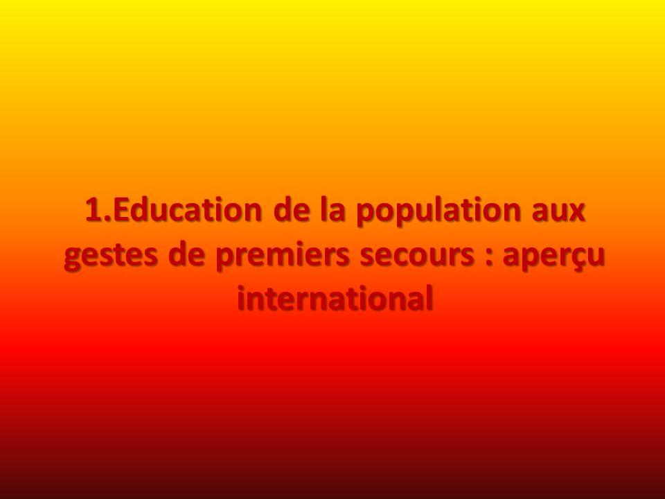 1.Education de la population aux gestes de premiers secours : aperçu international