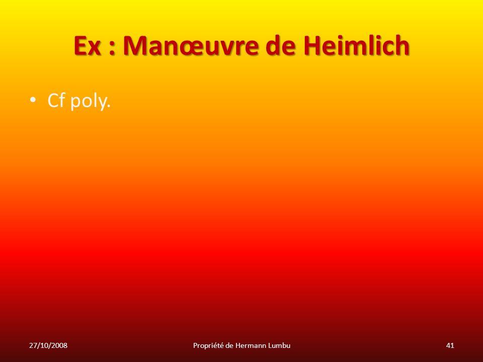 Ex : Manœuvre de Heimlich