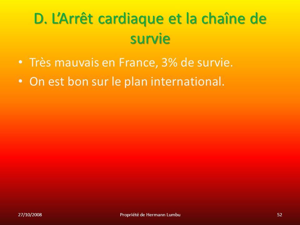 D. L'Arrêt cardiaque et la chaîne de survie