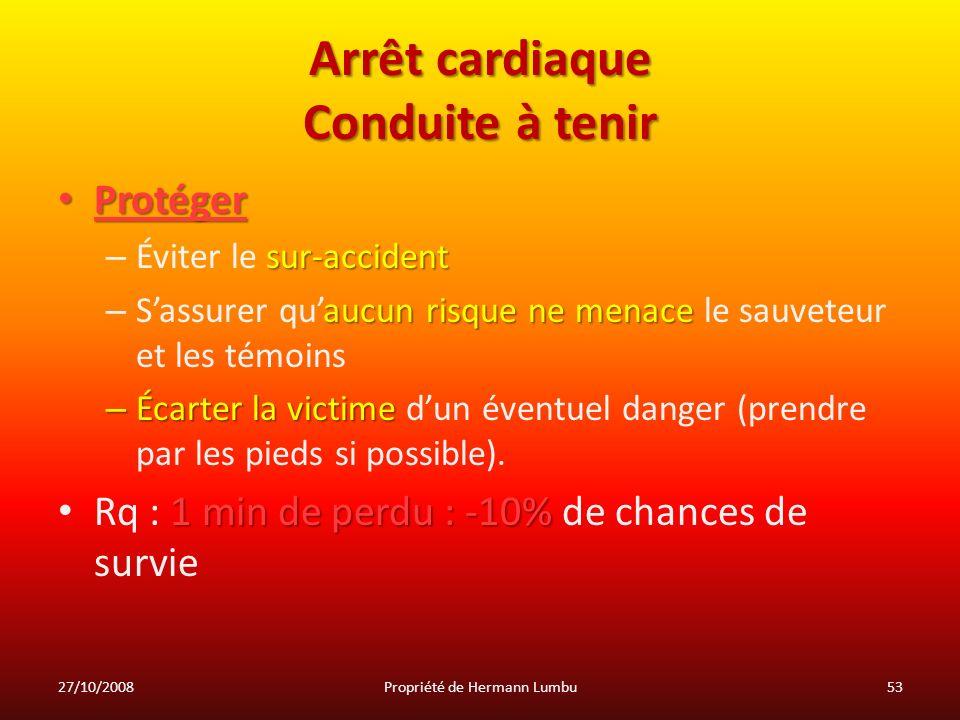 Arrêt cardiaque Conduite à tenir