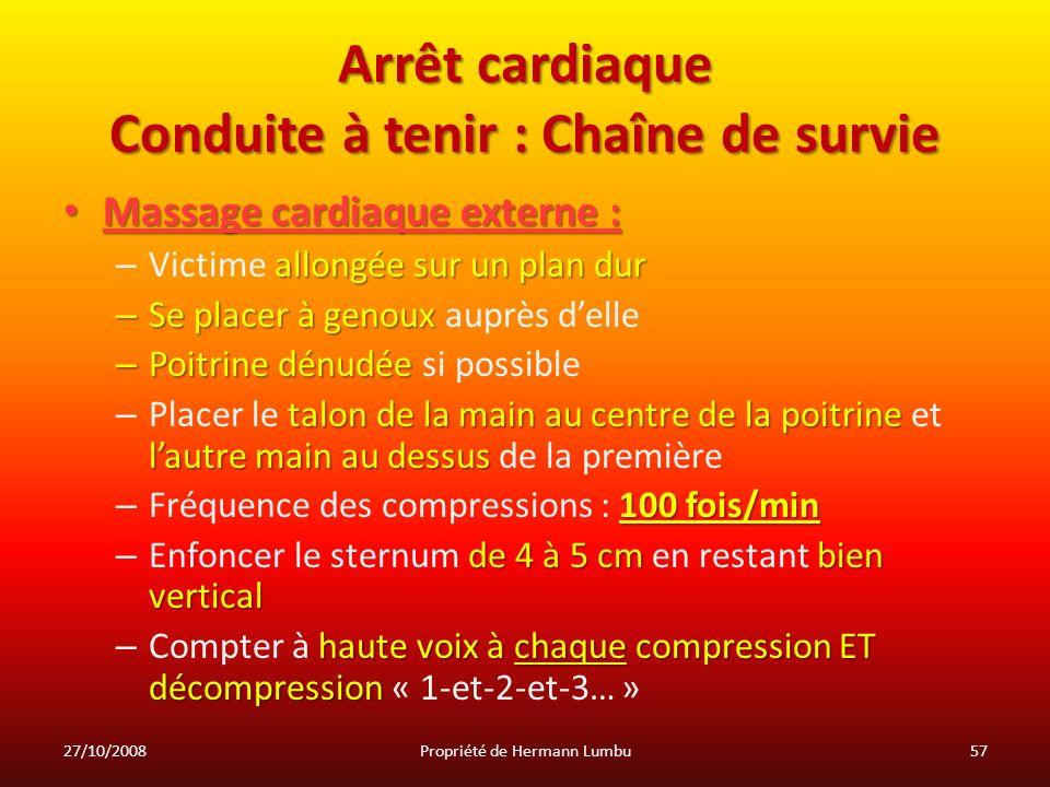 Arrêt cardiaque Conduite à tenir : Chaîne de survie