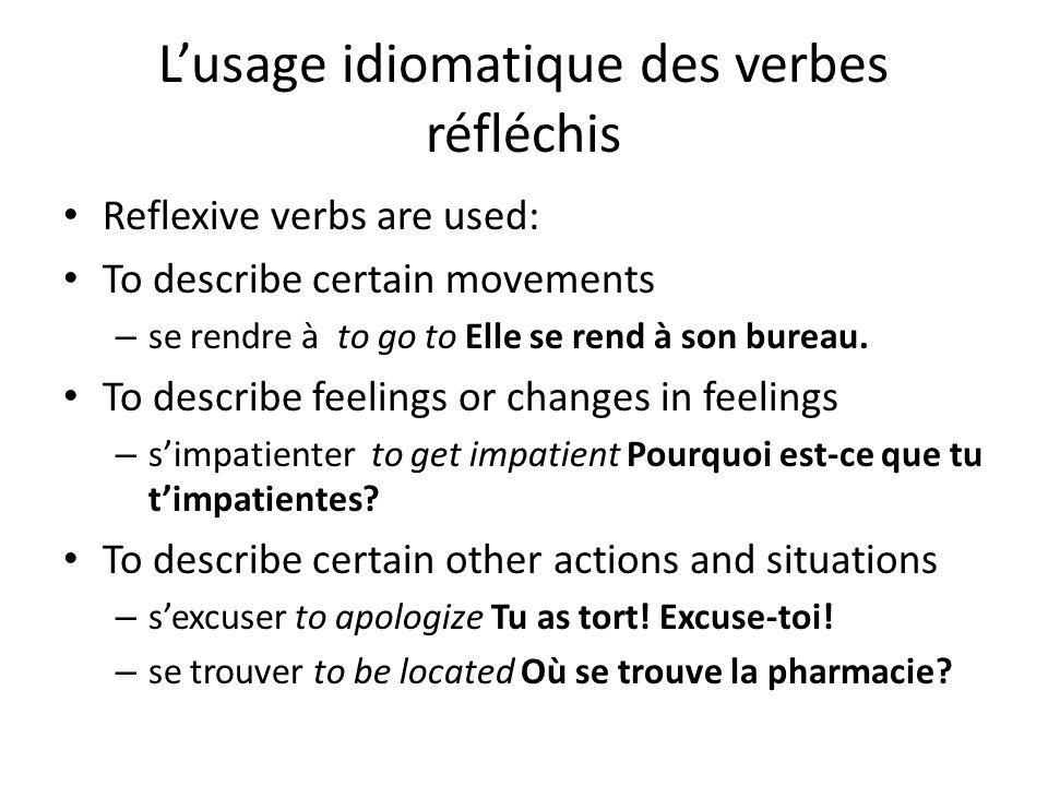 L'usage idiomatique des verbes réfléchis