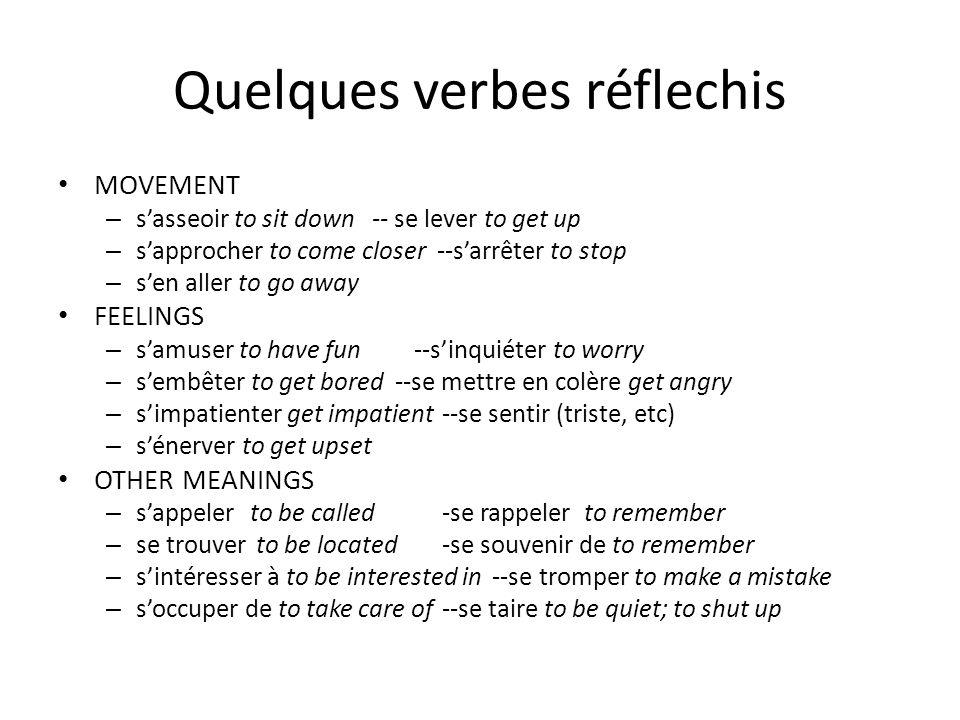 Quelques verbes réflechis