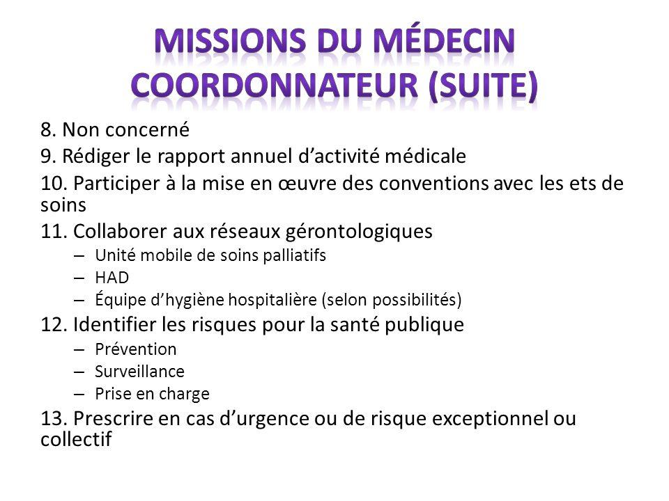 Missions du médecin coordonnateur (suite)