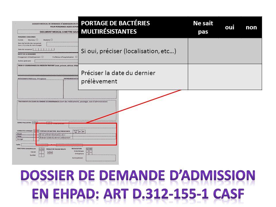 Dossier de demande d'admission en EHPAD: Art D.312-155-1 CASF