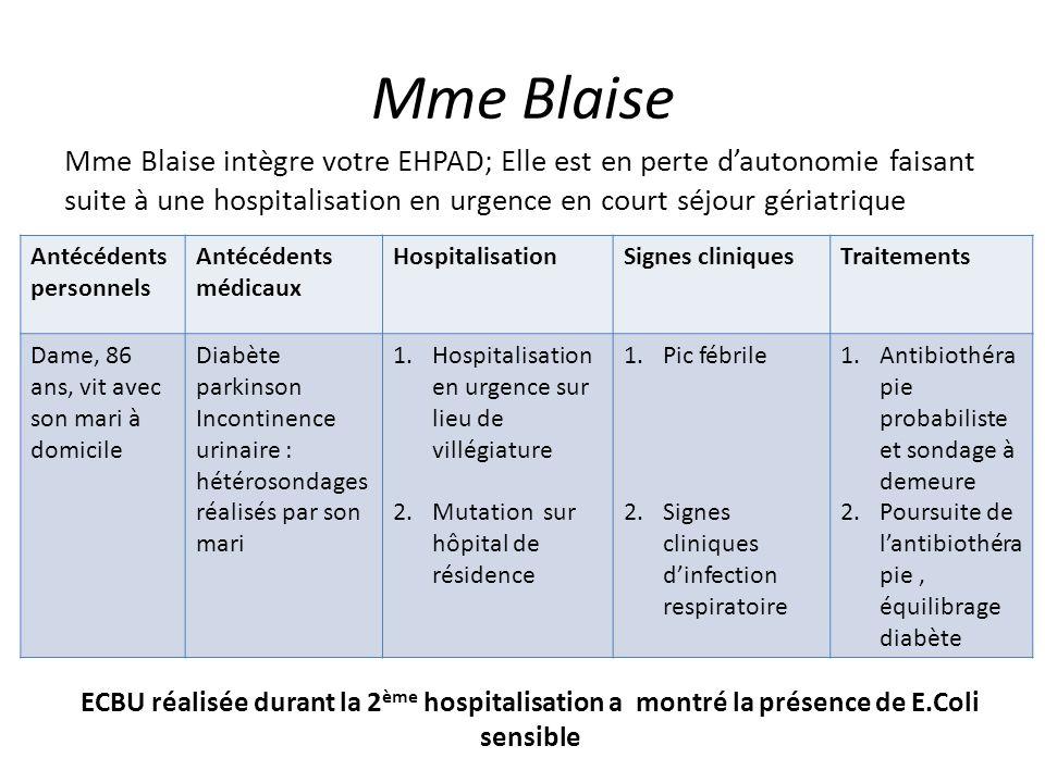 Mme BlaiseMme Blaise intègre votre EHPAD; Elle est en perte d'autonomie faisant suite à une hospitalisation en urgence en court séjour gériatrique.