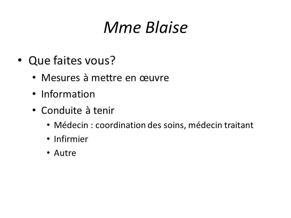 Mme Blaise Que faites vous Mesures à mettre en œuvre Information