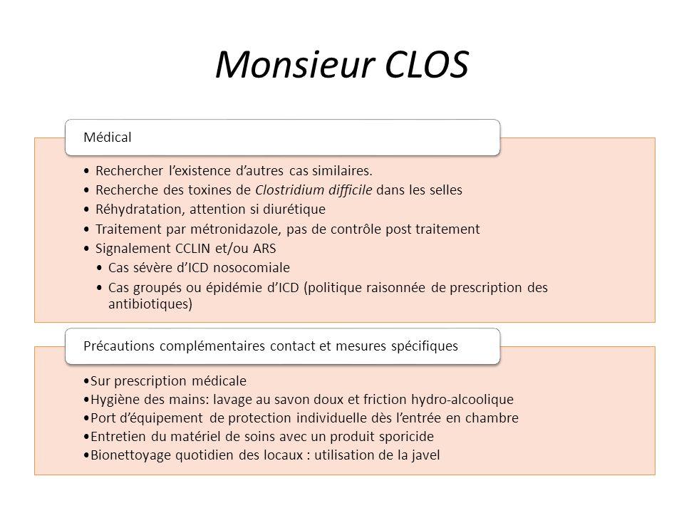 Monsieur CLOS Rechercher l'existence d'autres cas similaires.