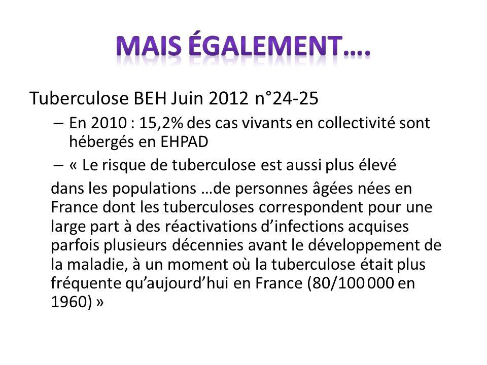 Mais également…. Tuberculose BEH Juin 2012 n°24-25
