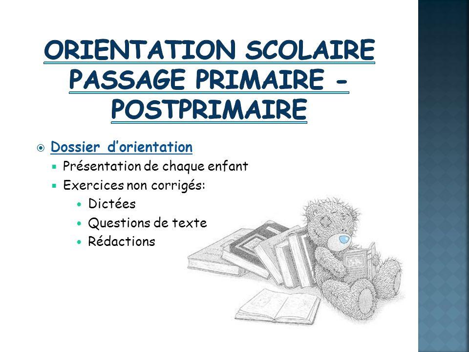 Orientation scolaire passage primaire - postprimaire