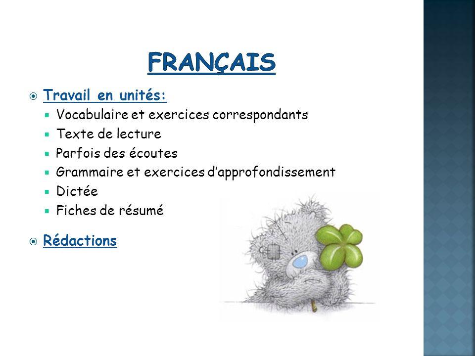 Français Travail en unités: Rédactions