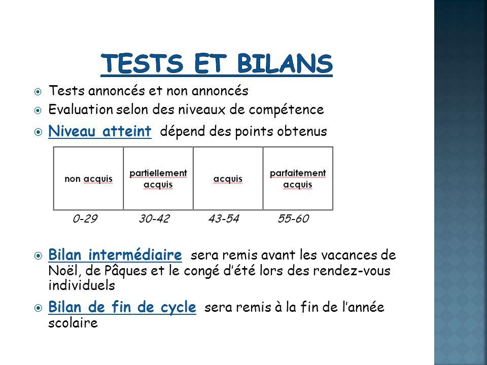 Tests et bilans Niveau atteint dépend des points obtenus