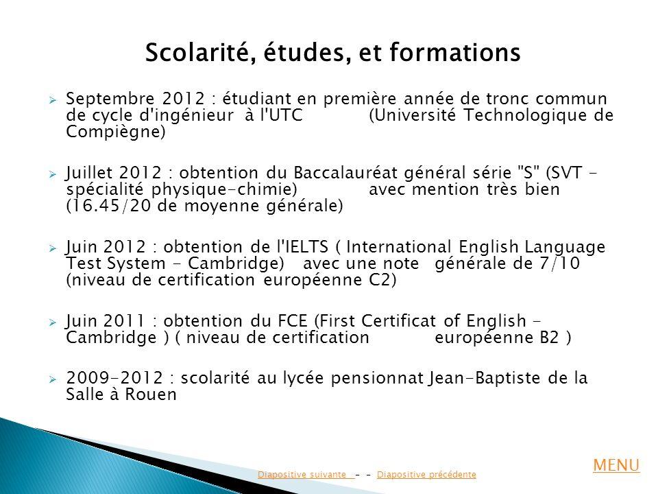Scolarité, études, et formations