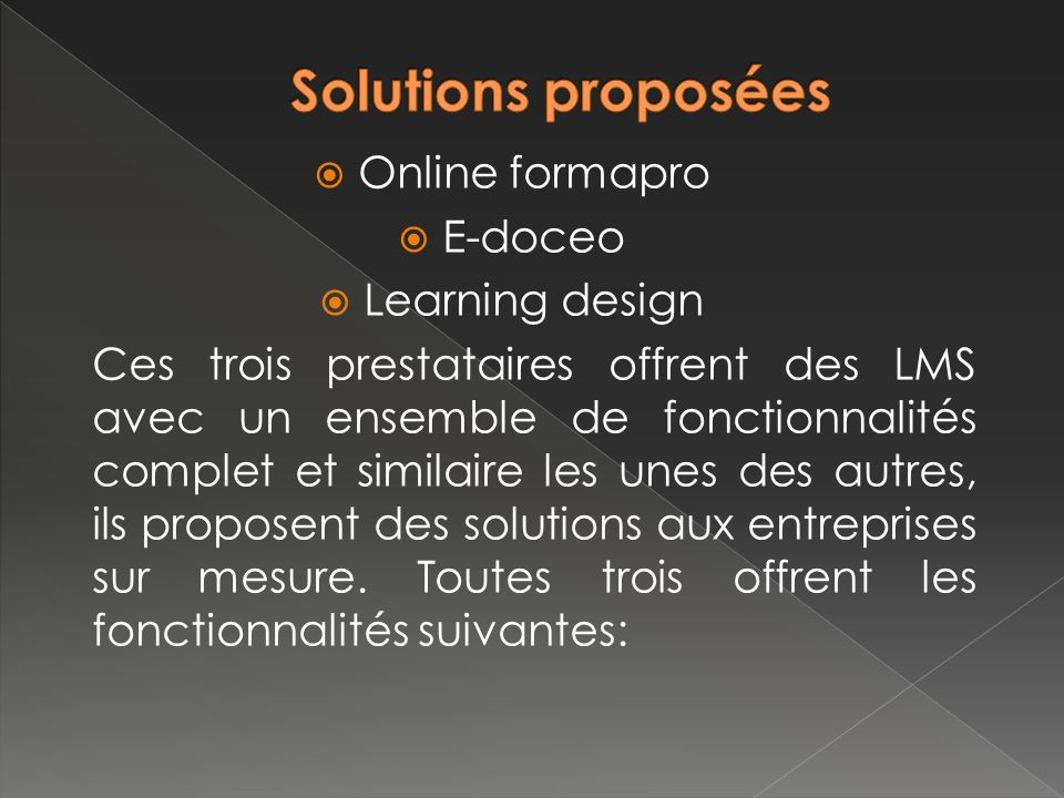 Solutions proposées Online formapro E-doceo Learning design