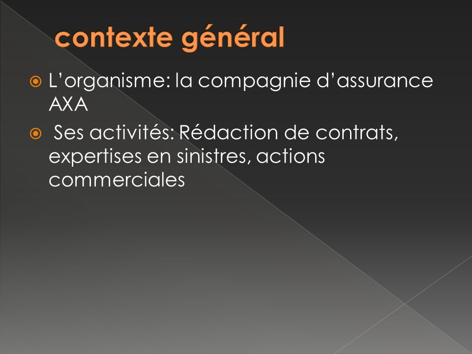 contexte général L'organisme: la compagnie d'assurance AXA