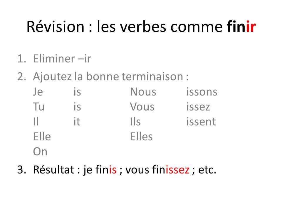Révision : les verbes comme finir