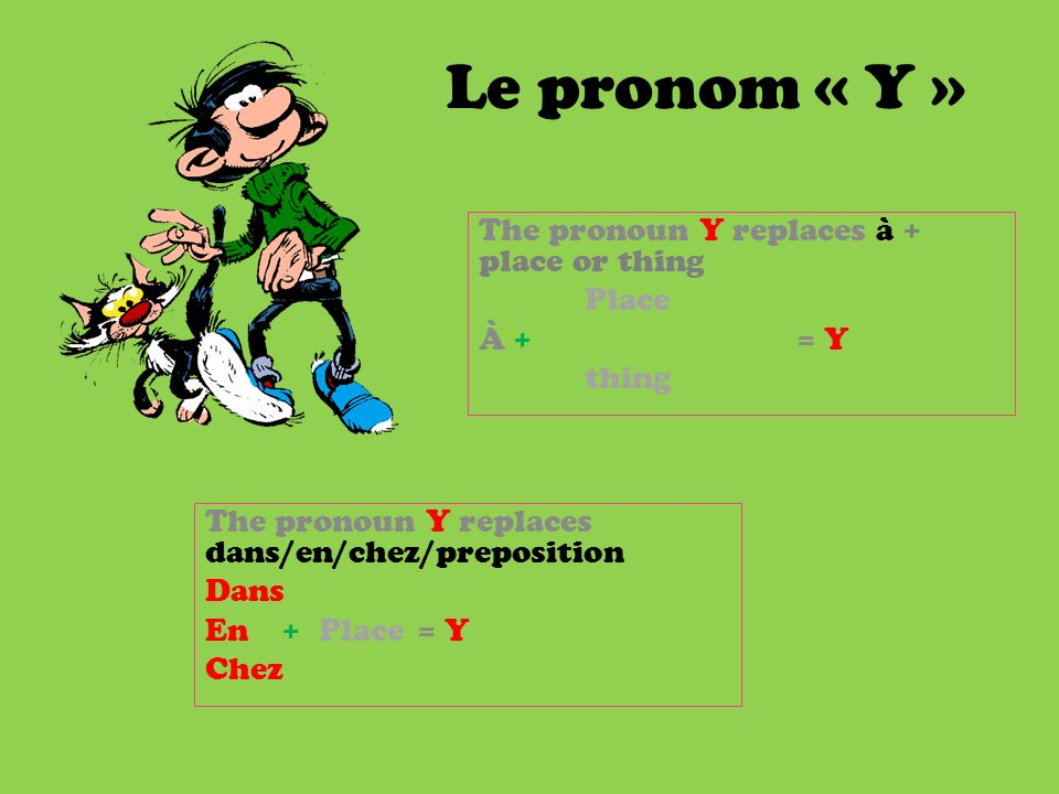 The pronoun Y replaces à + place or thing Place À + = Y thing
