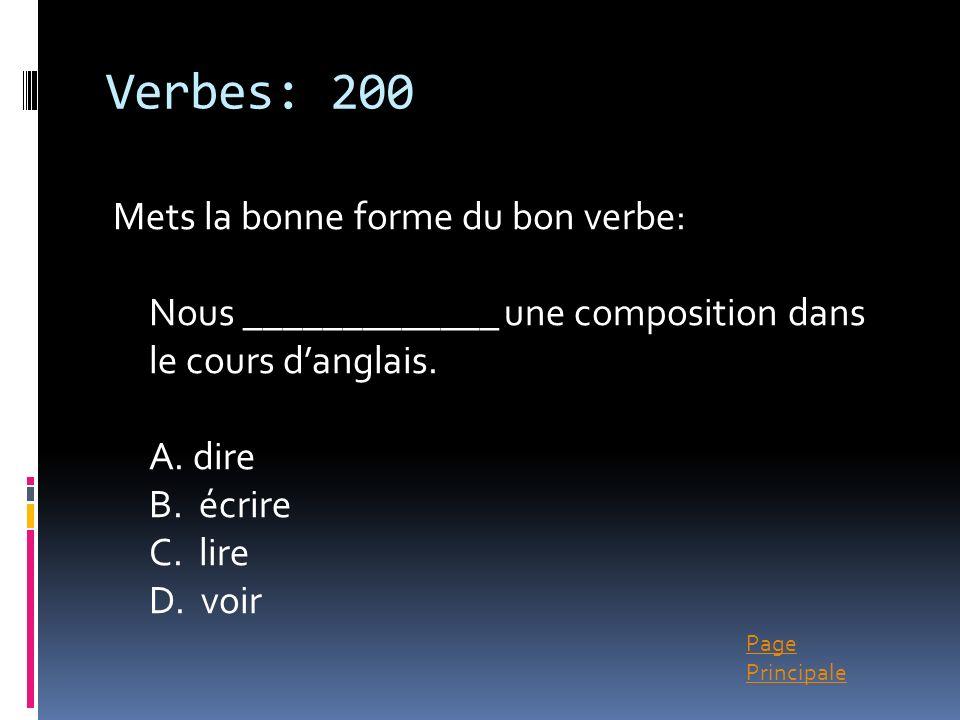 Verbes: 200