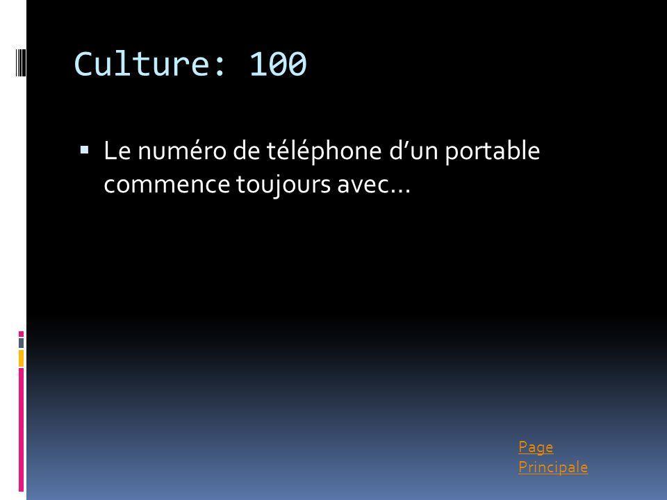 Culture: 100 Le numéro de téléphone d'un portable commence toujours avec…