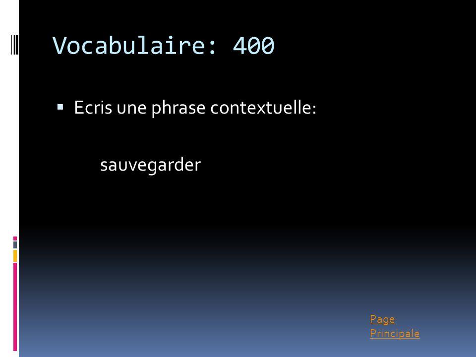 Vocabulaire: 400 Ecris une phrase contextuelle: sauvegarder