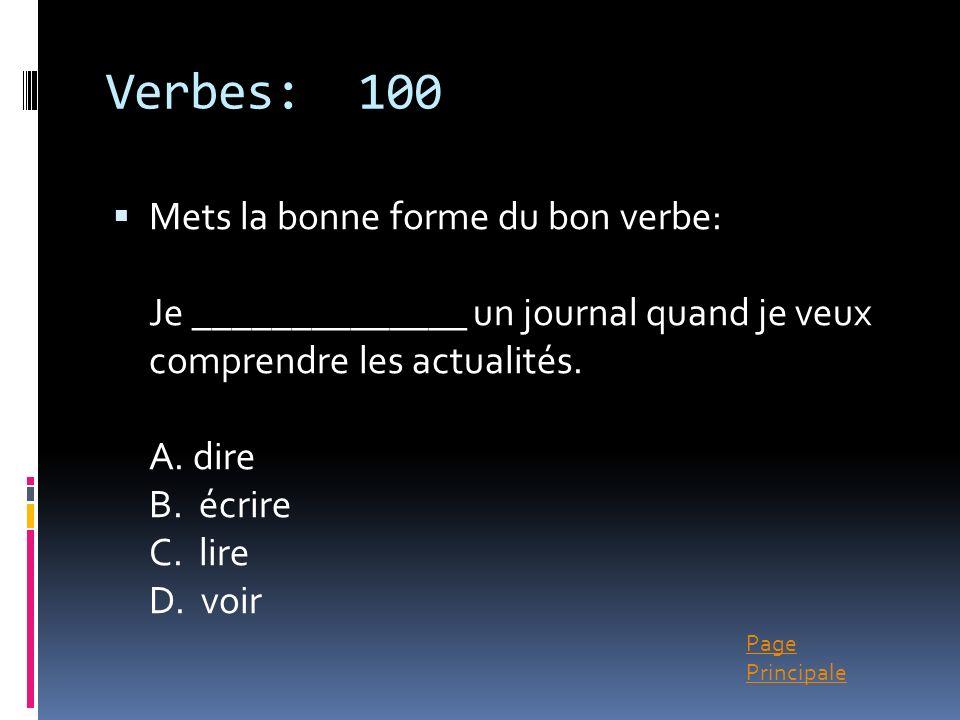 Verbes: 100