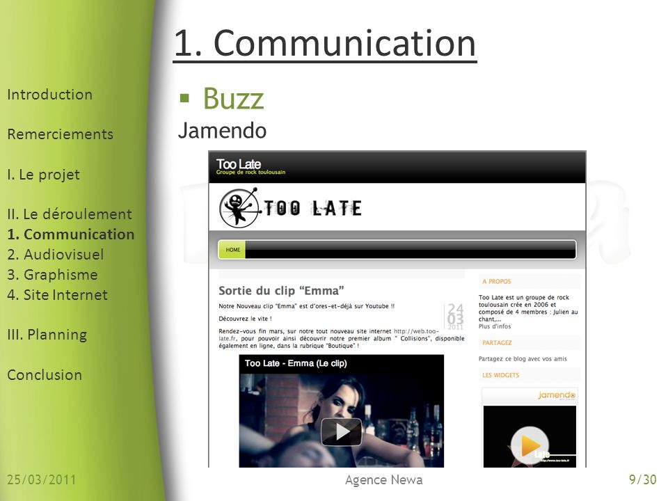 1. Communication Buzz Jamendo Introduction Remerciements I. Le projet