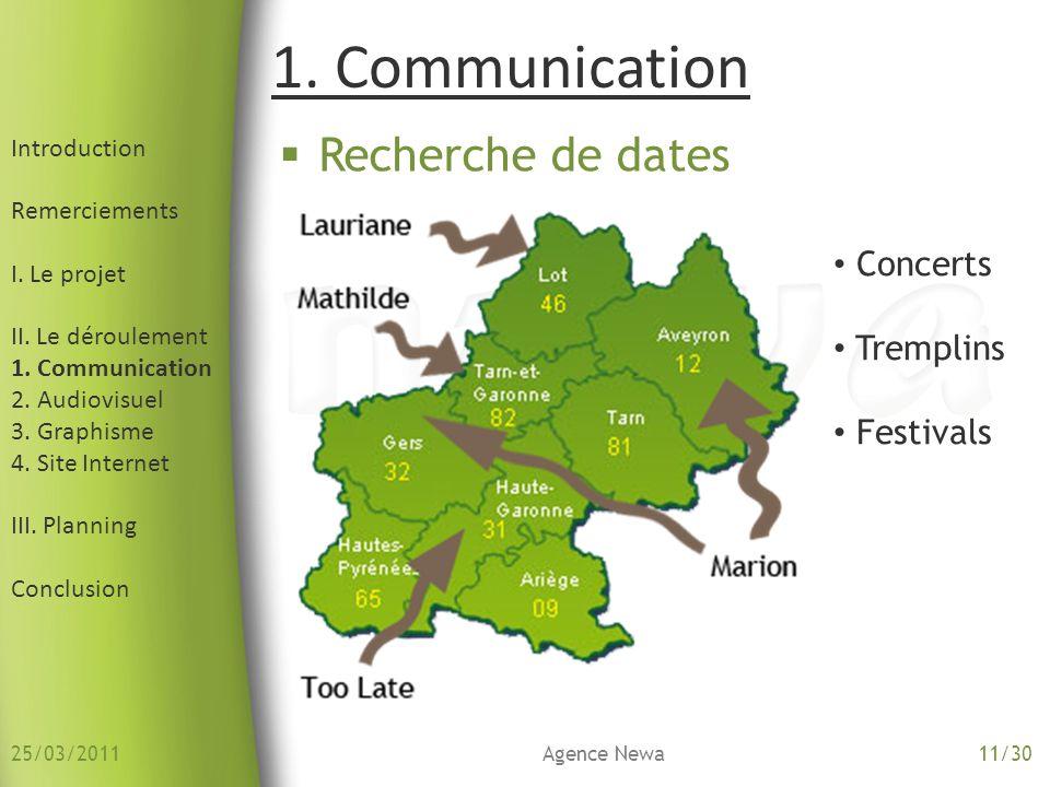 1. Communication Recherche de dates Concerts Tremplins Festivals