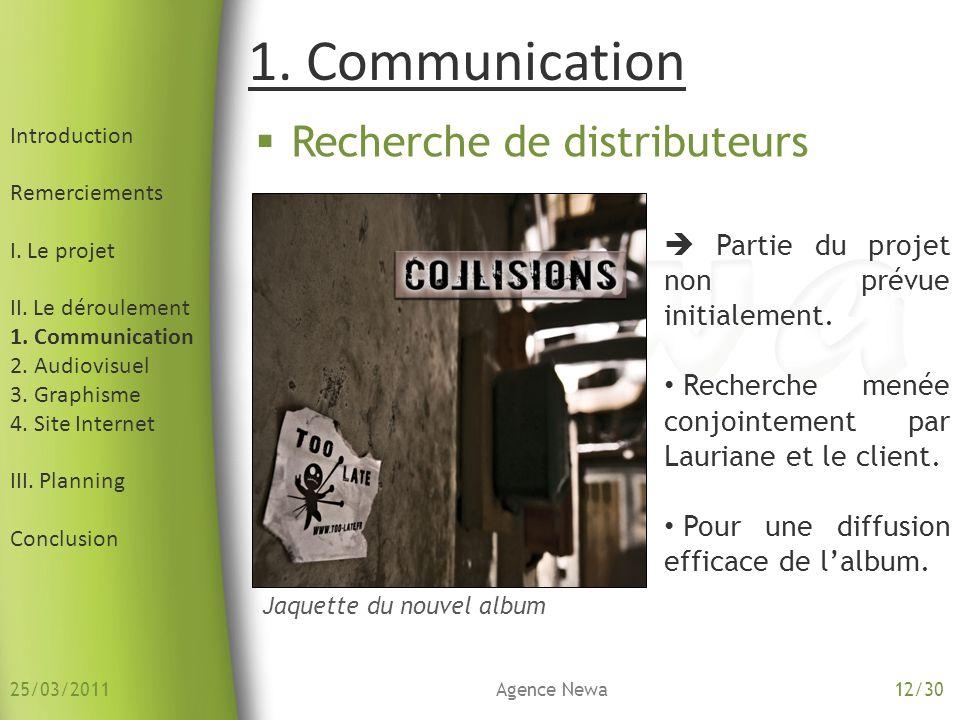 1. Communication Recherche de distributeurs