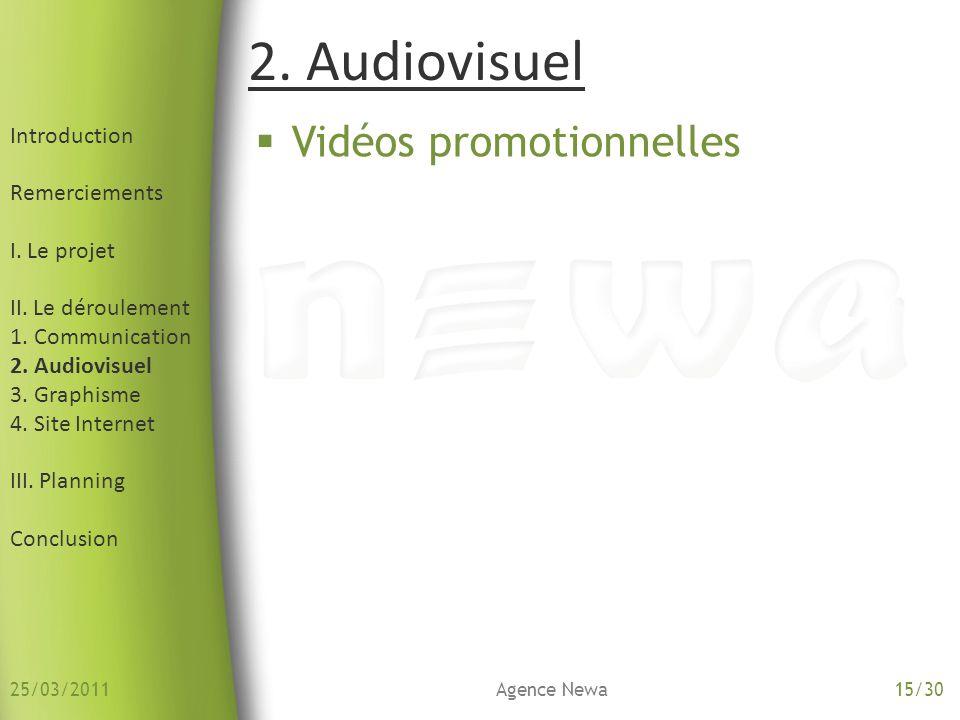 2. Audiovisuel Vidéos promotionnelles Introduction Remerciements