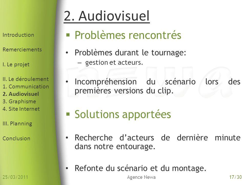 2. Audiovisuel Problèmes rencontrés Solutions apportées