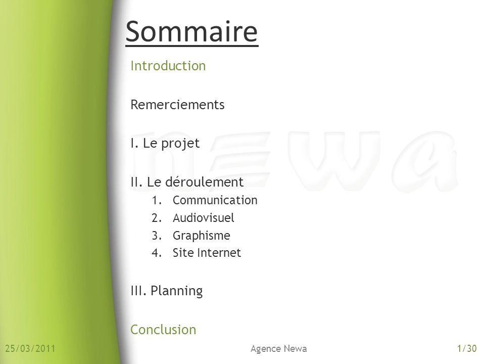 Sommaire Introduction Remerciements I. Le projet II. Le déroulement