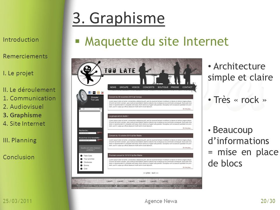 3. Graphisme Maquette du site Internet Architecture simple et claire