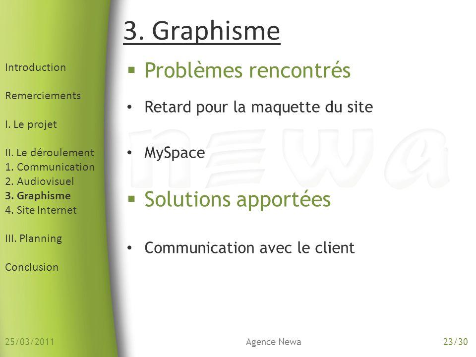 3. Graphisme Problèmes rencontrés Solutions apportées