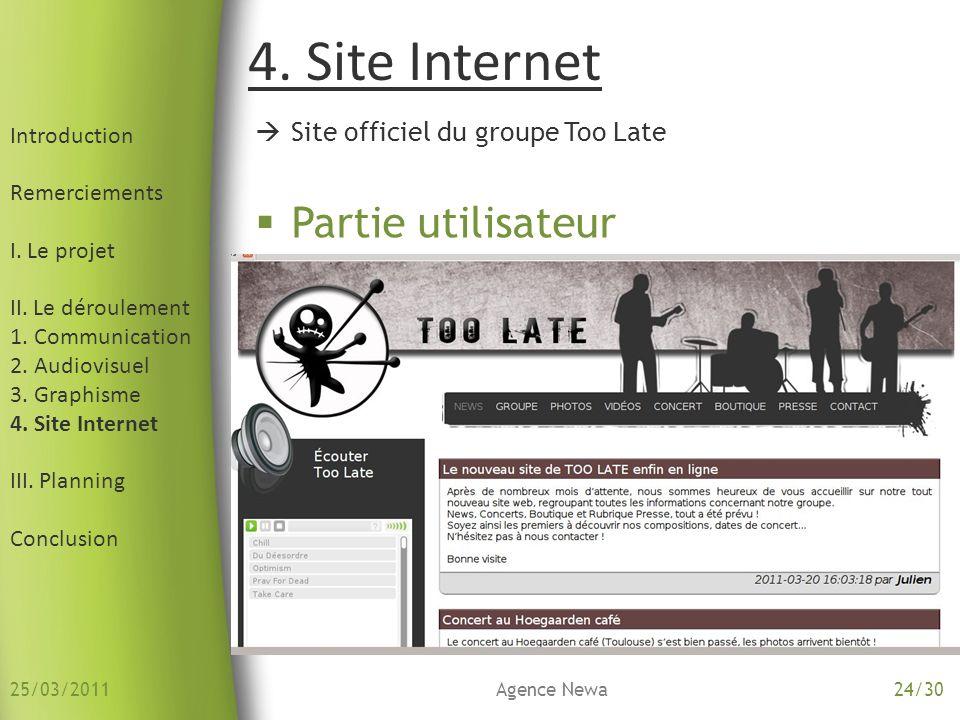 4. Site Internet Partie utilisateur Site officiel du groupe Too Late