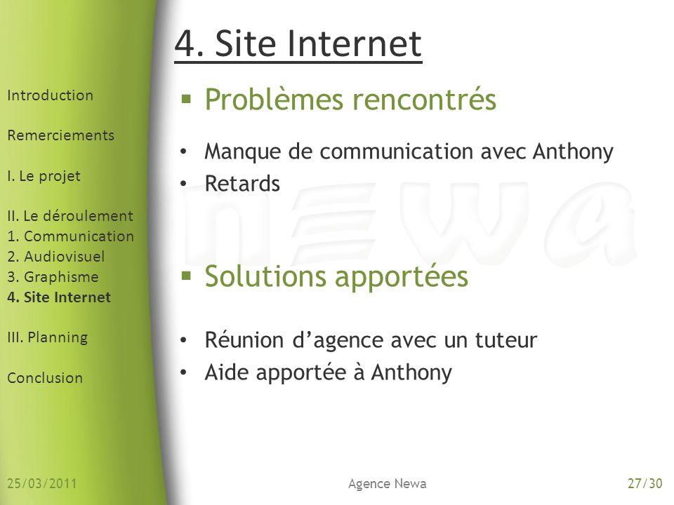 4. Site Internet Problèmes rencontrés Solutions apportées