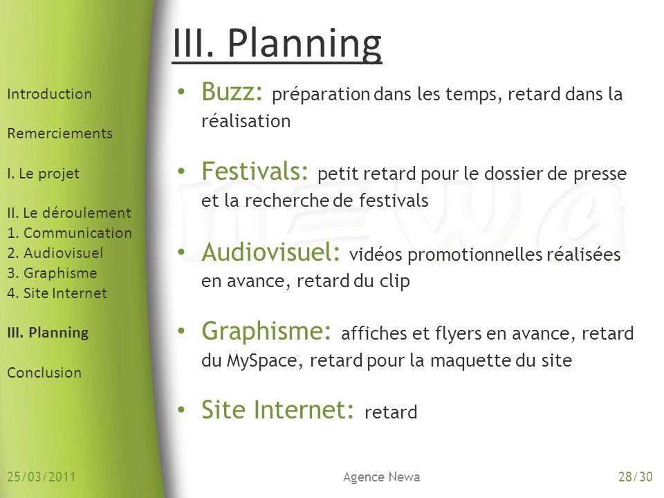 25/03/2011 Introduction. Remerciements. I. Le projet. II. Le déroulement. 1. Communication. 2. Audiovisuel.