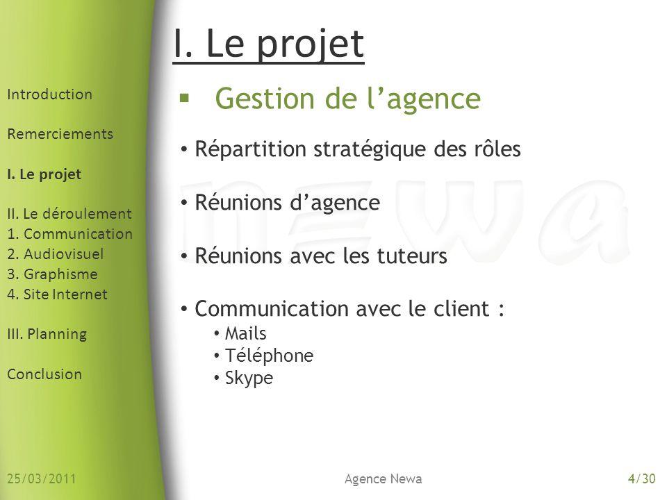 I. Le projet Gestion de l'agence Répartition stratégique des rôles