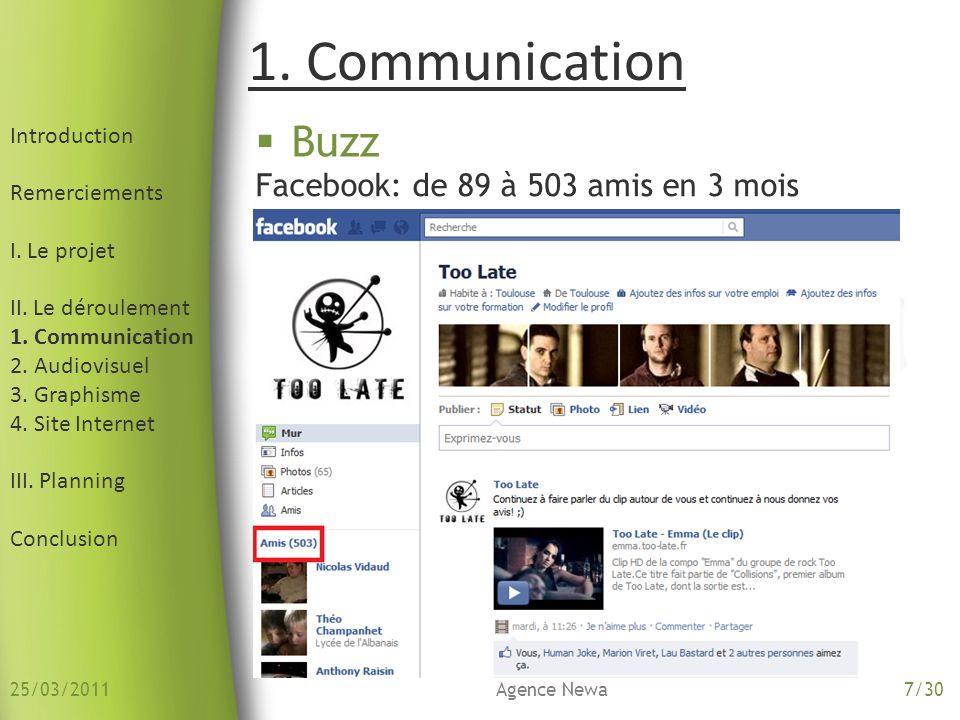 1. Communication Buzz Facebook: de 89 à 503 amis en 3 mois
