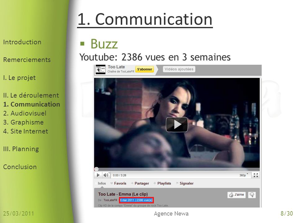 1. Communication Buzz Youtube: 2386 vues en 3 semaines Introduction
