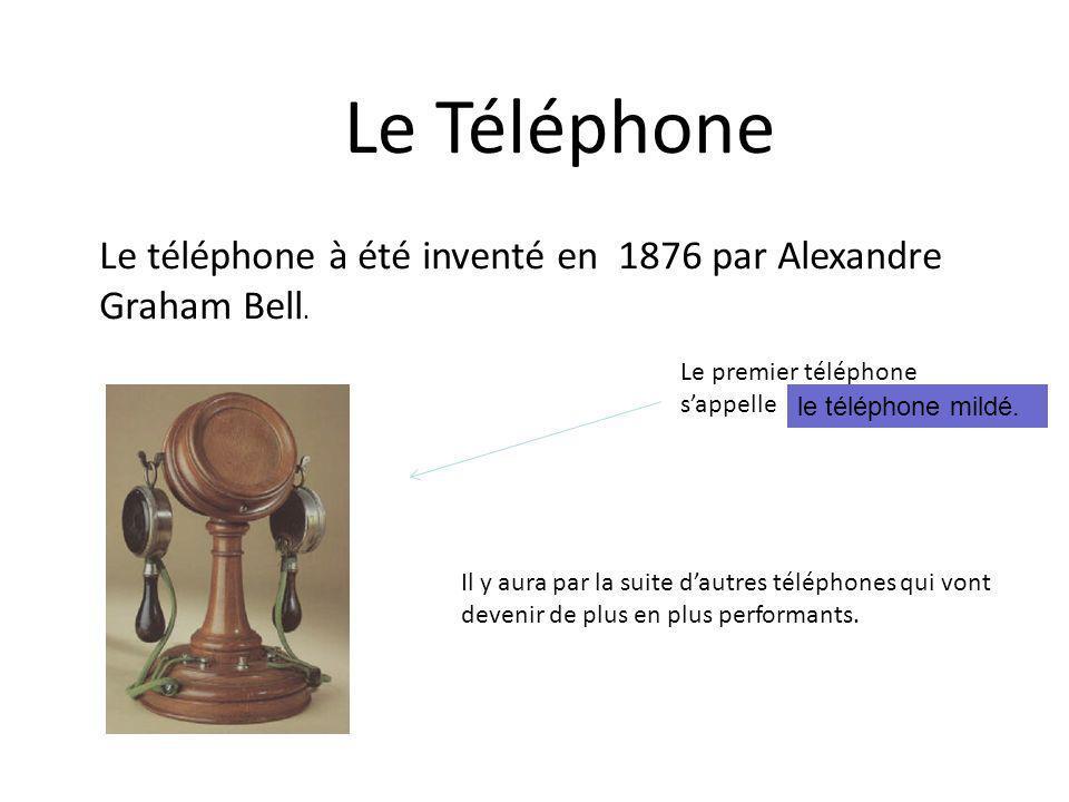 Le Téléphone Le téléphone à été inventé en 1876 par Alexandre Graham Bell. Le premier téléphone s'appelle.