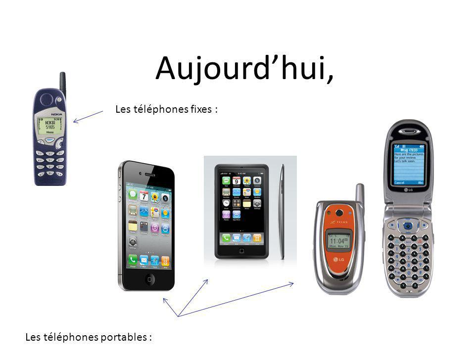 Aujourd'hui, Les téléphones fixes : Les téléphones portables :