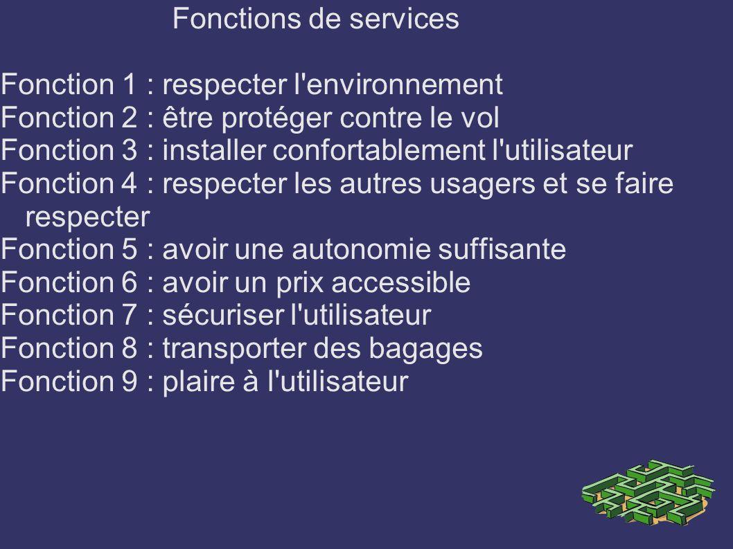 Fonctions de services Fonction 1 : respecter l environnement. Fonction 2 : être protéger contre le vol.