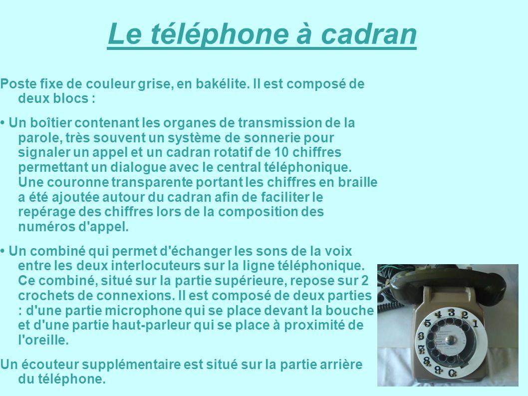 Le téléphone à cadran Poste fixe de couleur grise, en bakélite. Il est composé de deux blocs :